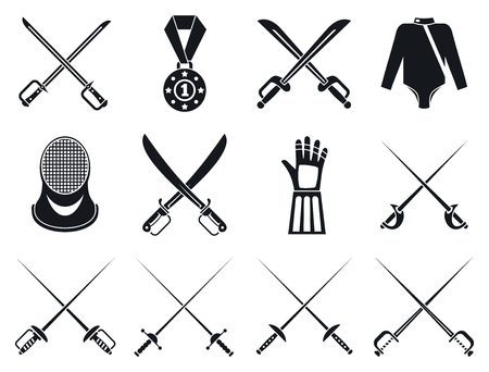 Fencing icons set, simple style Illustration
