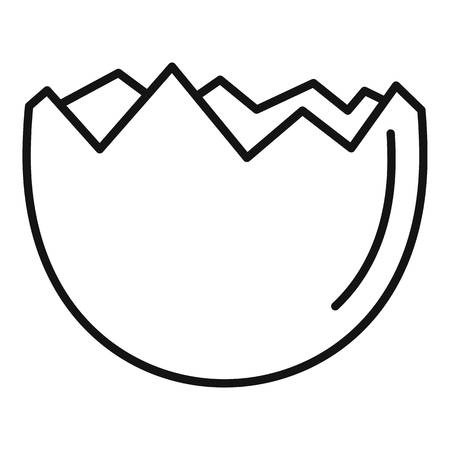 Half cracked eggshell icon, outline style