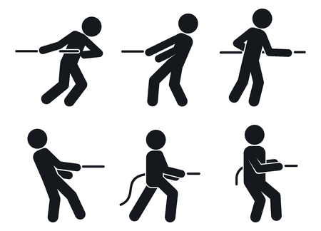 Tug of war pull icons set, simple style Illustration