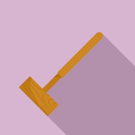 Croquet mallet icon, flat style