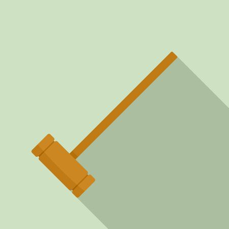 Croquet wood mallet icon, flat style