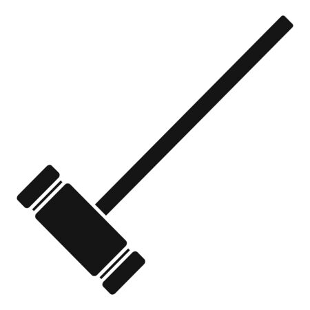 Croquet wood mallet icon, simple style