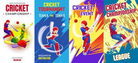 Cricket banner set, cartoon style