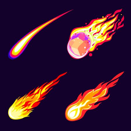 Meteorite icons set, cartoon style