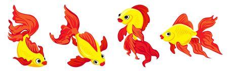 Jeu d'icônes de poisson rouge, style cartoon