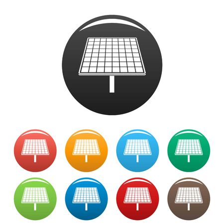 Solar brand panel icons set color