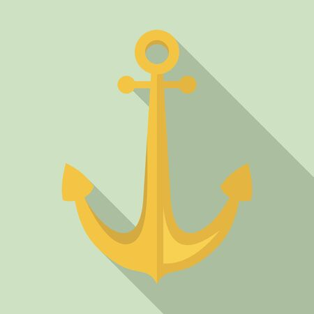 Sailor anchor icon, flat style Illustration