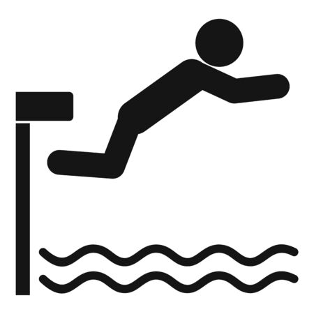 Diving board icon, simple style