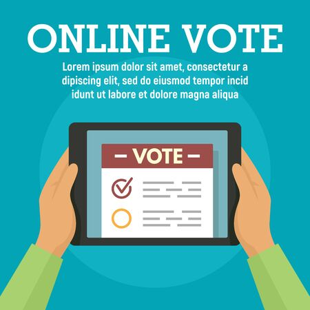 Online vote on tablet concept banner, flat style