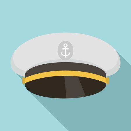 Ship captain cap icon. Flat illustration of ship captain cap vector icon for web design