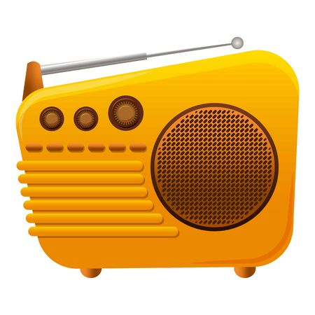 Yellow color radio icon. Cartoon of yellow color radio vector icon for web design isolated on white background