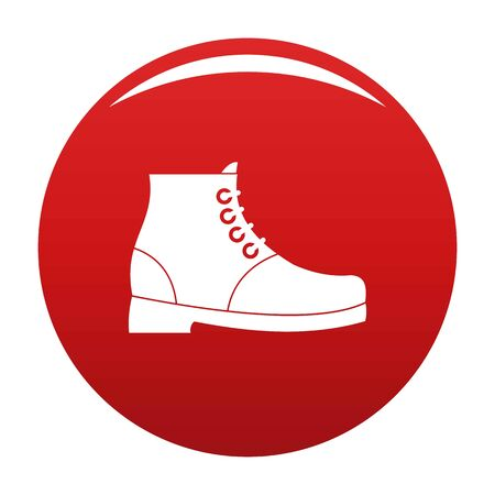 Hiking boots icon vector red