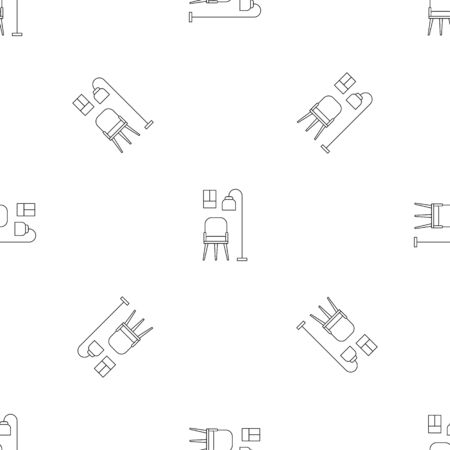 Chair and room lamp pattern seamless vector