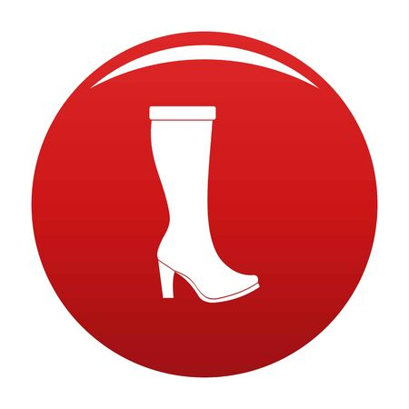 Woman boots icon vector red