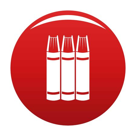 Book pile icon. Simple illustration of book pile vector icon for any design red