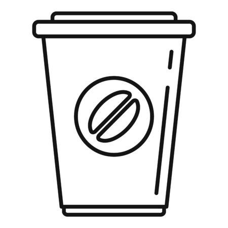 Plastic coffee cup icon, outline style Иллюстрация