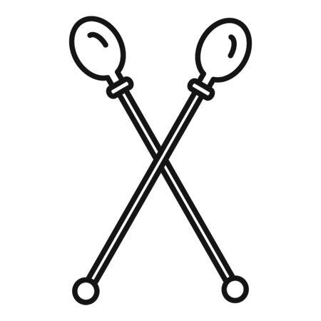 Gymnastics sticks icon, outline style Illustration