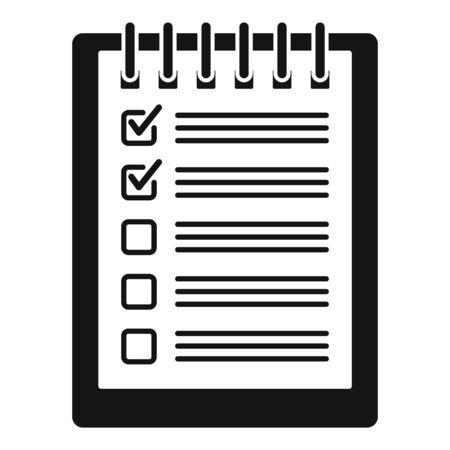 Notebook checklist icon, simple style Reklamní fotografie - 126249885
