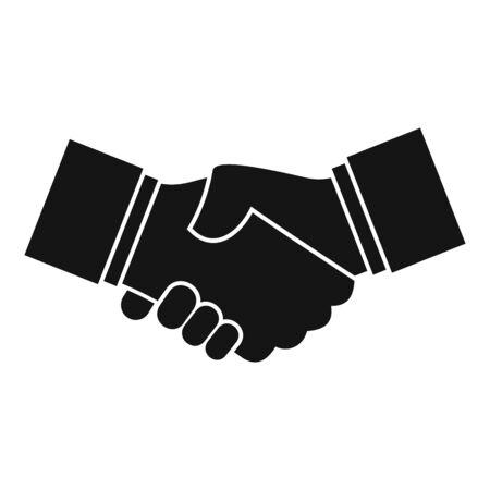 Icona della stretta di mano di affari, stile semplice