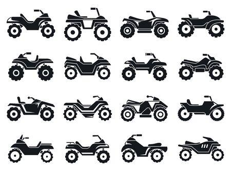 Conjunto de iconos de quad de carrera. Conjunto simple de iconos vectoriales de carrera en quad para diseño web sobre fondo blanco. Ilustración de vector