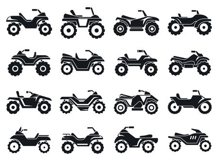 Race quad bike icons set. Simple set of race quad bike vector icons for web design on white background Illustration