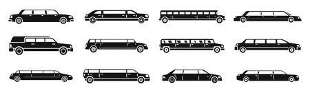 Moderne Limousinenikonen eingestellt. Einfacher Satz moderner Limousinenvektorikonen für Webdesign auf weißem Hintergrund