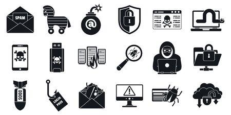 Conjunto de iconos de virus de ataque cibernético. Conjunto simple de iconos vectoriales de virus de ataque cibernético para diseño web sobre fondo blanco. Ilustración de vector