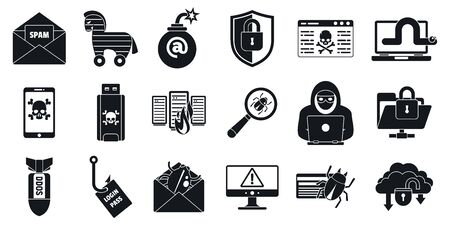 Cyber attack virus icons set. Simple set of cyber attack virus vector icons for web design on white background Ilustração Vetorial