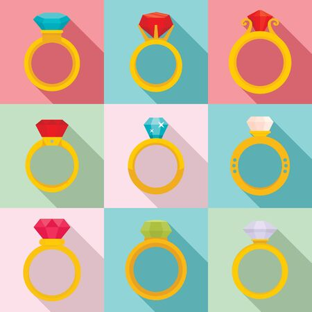 Diamond ring icons set. Flat set of diamond ring vector icons for web design 矢量图像