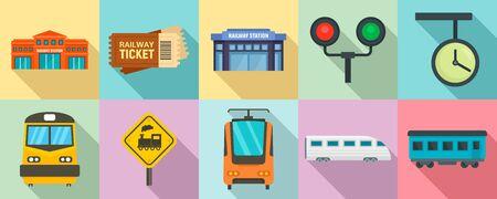 Railway station icons set, flat style