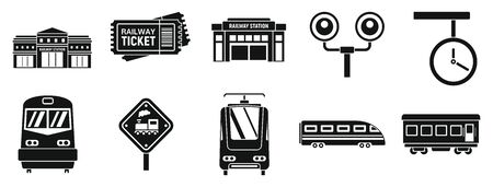 Modern railway station icons set, simple style