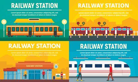 Railway station banner set, flat style Illustration