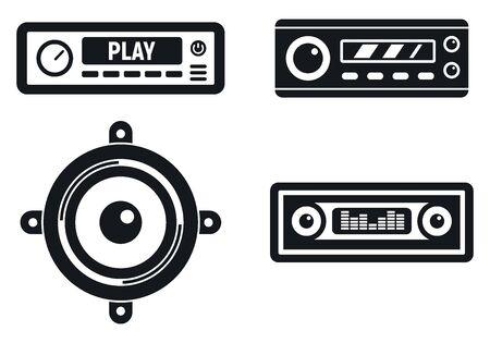 Auto-Audiosystem-Symbole gesetzt, einfacher Stil