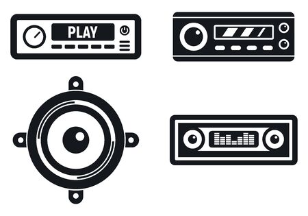 Car audio system icons set, simple style