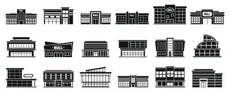 Mall building icons set, simple style