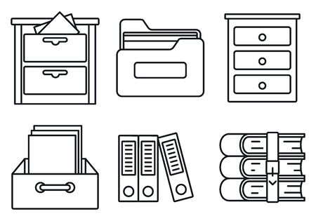 Archive library icons set, outline style