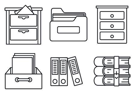 Zestaw ikon biblioteki archiwum, styl konturu