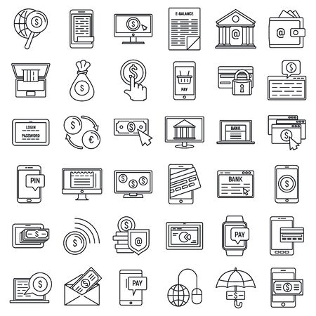 Mobile internet banking icons set, outline style 矢量图像