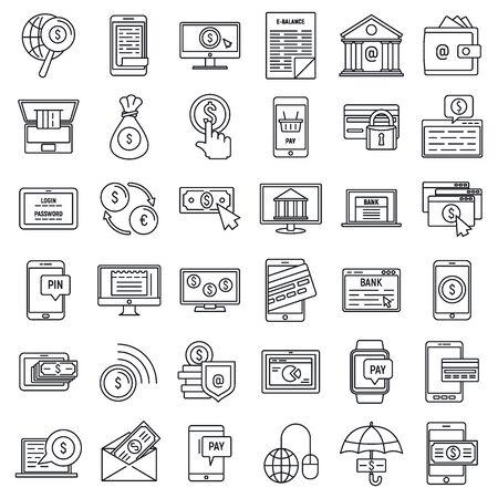 Mobile internet banking icons set, outline style Illustration
