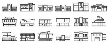 Mall centre icons set, outline style Illustration