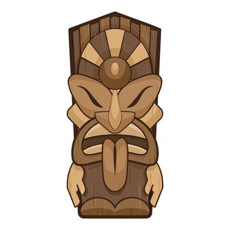 Aztec tiki idol icon, cartoon style