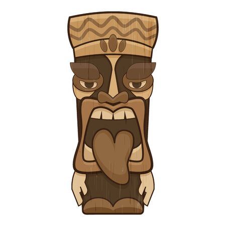 Polynesian idol icon, cartoon style