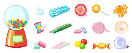 Gum icons set. Cartoon set of gum vector icons for web design Stock Illustratie