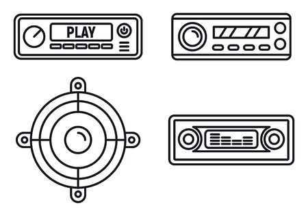 Auto-Audio-Lautsprechersymbole gesetzt, Umrissstil Vektorgrafik