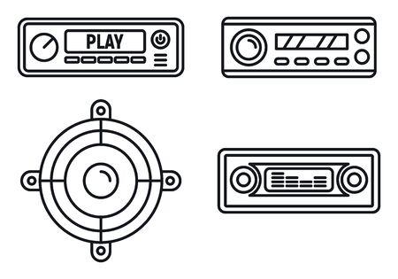 Car audio speaker icons set, outline style Ilustração Vetorial