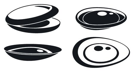 Mussels seafood icons set, simple style