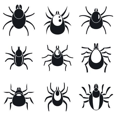 Mite insect icons set, simple style Vetores