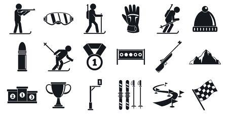 Biathlon icons set, simple style Vettoriali
