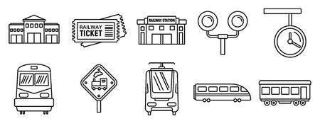 Railway train station icons set, outline style
