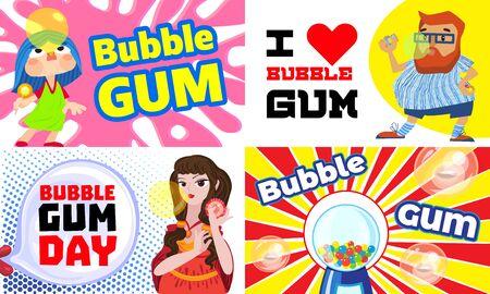 Gum chewing banner set, cartoon style